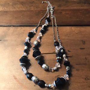 "Premier Designs black beaded 16"" necklace"